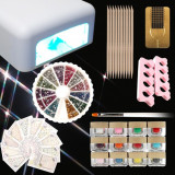 Set unghii false gel uv kit unghii gel lampa uv 36w kit manichiura 12 gel color