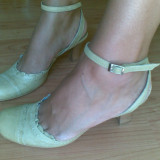 Pantofi din piele marimea 38, sunt noi! - Pantof dama, Culoare: Bej, Bej