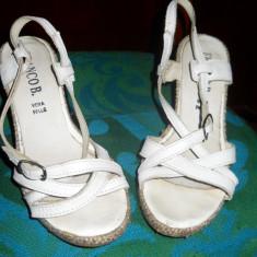 sandale dama albe piele naturala cu platforma FRANCO -marimea 35
