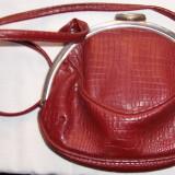 poseta / geanta, integral piele naturala 100%-crocolac, culoare grena (bordo), absolut NOUA si nefolosita,