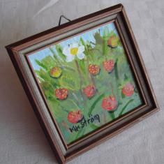 Miniatura peisaj cu flori (2) - Tablou autor neidentificat, Realism