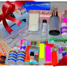 Unghii false - Set kit unghii gel Lampa uv Freza electrica, 3 x gel constructie 12 x gel color, 500 tipsuri, Stampila unghii, Glitter, Primer, Finish, Perle, Strasuri