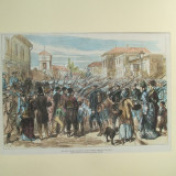 Gravura color Garda imperiala rusa trecand prin Bucuresti 1877 - 1878 - Pictor roman