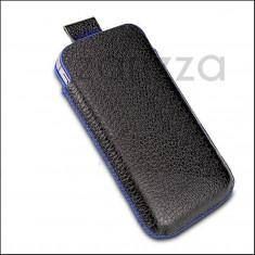 Husa piele NATURALA de bovina iPhone 4 4S, Negru, Saculet, Fara snur