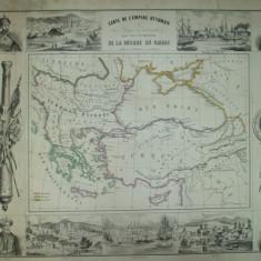Harta Impeirului Otoman si a razboiului din Orient cu Marea Neagra sultanul Abdul - Meju imparatul Nicolae Omer Pacha Paris F. Gosselin - Harta Turciei