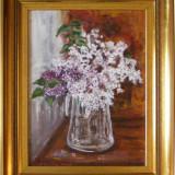 Liliac - tablou semnat de Marinela Popescu, înrămat, Natura moarta, Impresionism