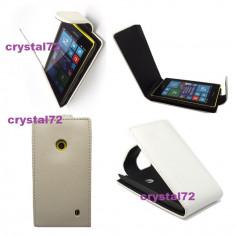 Livrare gratuita!!! Husa toc flip alba pentru Nokia Lumia 520 + laveta microfibra + stylus pen, inchidere magnetica, calitate