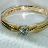 Inel aur, 9K, 46 - 56 - Superb inel solitaire vintage aur galben 9K cu diamant natural 0, 15CT VS !!!