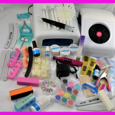 Mega set kit unghii false gel pila electrica freza electrica lampa uv aspirator