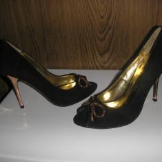 LICHIDARE STOC Pantofi lux dama Ted Baker London noi superbi piele sz.37 ! - Pantof dama Ted Baker, Culoare: Negru, Piele intoarsa