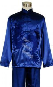Costum traditional chinezesc unisex albastru cu imprimeu dragon nou,Kung Fu/Tai Chi-XL foto