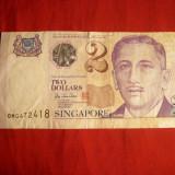 Bancnota 2 Dolari Singapore, cal.Buna