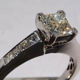 Ocazie inel aur alb 14K cu 12 diamante naturale 1.03CT si 4.27 grame superb, 46 - 56