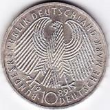 Germania 10 Mark 1989 argint 15, 5 grame, comemorativa, 40 de ani de la crearea republicii