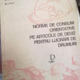 Norme de consum orientative pe articole de deviz pentru lucrari de drumuri (D)