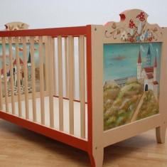 PATUTURI DIN LEMN MASIV PICTATE SI LCUITE ACRILIC - Patut lemn pentru bebelusi, 6-12 luni, 140x70cm, Multicolor