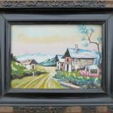 Tablou - Peisaj cu case, acuarela semnata