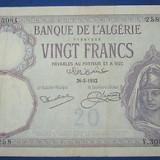 bancnota africa - Algeria 20 francs 1932, 16 x 10, 5 cm, 100 roni, circulata, taxele postale zero, fotografia e de prezentare, detalii pe mesageria privata inainte de a licita