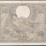 Bancnota Straine, Europa - Belgia 100 franci 1938, 18 cm x 11cm, 100 roni, circulata, taxele postale zero, fotografia e de prezentare, detalii pe mesageria privata inainte de a licita