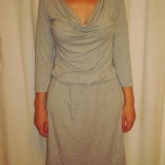 Rochie Esprit - Rochie de zi Esprit, Marime: S, Culoare: Gri, Midi, 3/4, Bumbac