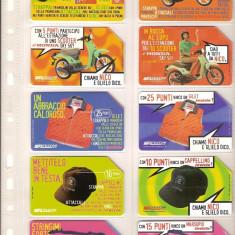 Lot 10 cartele telefonice Italia, promotii, motorete, sepci, etc. - lot colectie