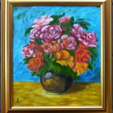 Vaza cu trandafiri, pictura semnata monogramic - Pictor roman