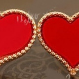 Cercei cu diamante - CERCEI Inima Inimioara Rosie