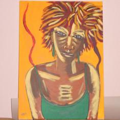 DEOSEBIT TABLOU PICTAT PE PANZA ARTA AFRICANA, Portrete, Ulei, Impresionism