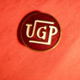 Insigna veche UGP, metal si email, d= 2 cm