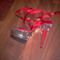 Sandale dama, Marime: 39, Rosu - Sandale de club cu platforma de plastic transparent