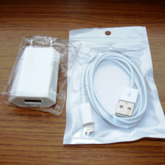 Incarcator priza Iphone 5 + Cablu incarcare/sincronizare Iphone 5 - Incarcator telefon iPhone