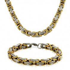 Lantisor inox - Set Lant+Bratara Inox Placat cu aur