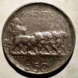 1.395 ITALIA VITTORIO EMANUELE III 50 CENTESIMI 1925 muchie zimtata, Europa, An: 1925, Nichel