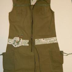 Rochie rochita pentru fetite, marimea 6 ani, fermoar defect necesita inlocuire, REDUSA ACUM!, Culoare: Khaki
