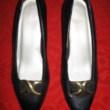 Pantofi dama, Piele sintetica - PANTOFI negri piele eco, toc 7 cm, Mar 41