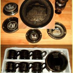 Grecia - Set ceramica nefolosit de lux compus din 18 piese, handmade, aur 24k, cesti cafea, vaza, bomboniera, scrumiere - Arta Ceramica