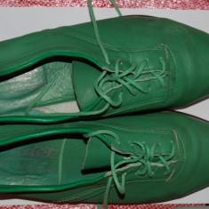 Pantofi barbati vintage verzi primavara marimea 43 culoarea verde trendy chic colorati, Piele naturala
