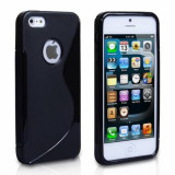 Livrare gratuita! Husa termorezistenta silicon-gel TPU neagra pentru iPhone 5 / iPhone 5S + folie full body (fata - spate) clear + laveta, calitate - Husa Telefon Apple, Negru
