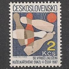 Timbre straine - Cehoslovacia.1987 50 ani Cluburile de popice SC.942