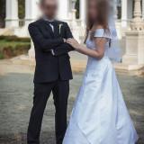 Rochie de mireasa printesa - Vand rochie de mireasa tip barcuta, alb sidef, marimi reglabile, de la 38 la 42