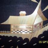 Tablou executat manual, cu PAI, peisaj de munte cu cabana, deosebit, foarte migalos