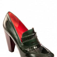 Pantofi din piele, originali, marca Tommy Hilfiger, marime 38 - Pantof dama Tommy Hilfiger, Culoare: Verde, Verde