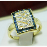 Superb Inel diamante si safire naturale aur 14 k, 585, 4.37 g, Culoare: Galben