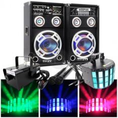 SISTEM 2 BOXE ACTIVE/AMPLFICATE CU MIXER INCLUS, MP3 PLAYER STICK SI CARD, ORGA LUMINI DUPA SUNET, RADIO+2 MICROFOANE BONUS+MASINA FUM+SCANNER LUMINI LED