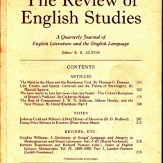 THE REVIEW OF ENGLISH STUDIES NR. 186 DIN MAI 1996 (IN LIMBA ENGLEZA) - Revista culturale