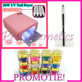 Set kit unghii false gel uv lampa 36 w cu timer 12 geluri colorate gel color