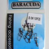 """Set 10 agrafe Baracuda """"double lock"""" cu vartej nr 0"""
