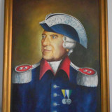 Tablou portret pictat pe panza rama lemn piesa colectii militare