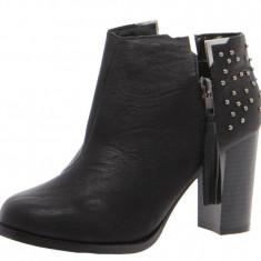 Cizme dama, Marime: 41, Negru - BOTINE, Cizme negre cu toc Boohoo Adalynn Black Studded Ankle Boot