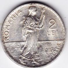 Monede Romania - 5) 2 LEI 1914, argint, muchia rotunjita, monetaria Hamburg